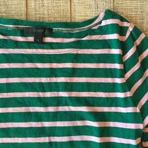 J.Crew green & pink stripe 3/4 sleeve T-shirt